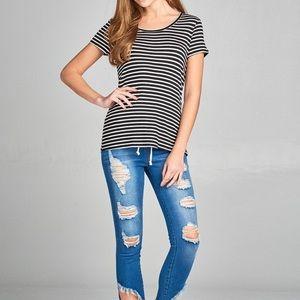 Active USA Black/White Striped Short Sleeve Tee